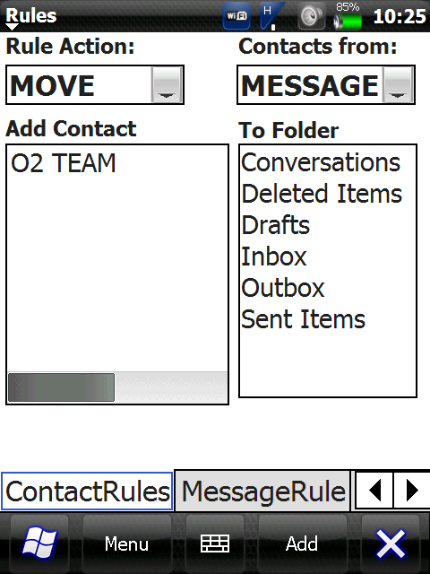 ScreenShot1 Filter Rules for SMS 4.4   Kurzmitteilungen filtern und in Ordner sortieren für Windows Mobile Smartphone / PocketPC